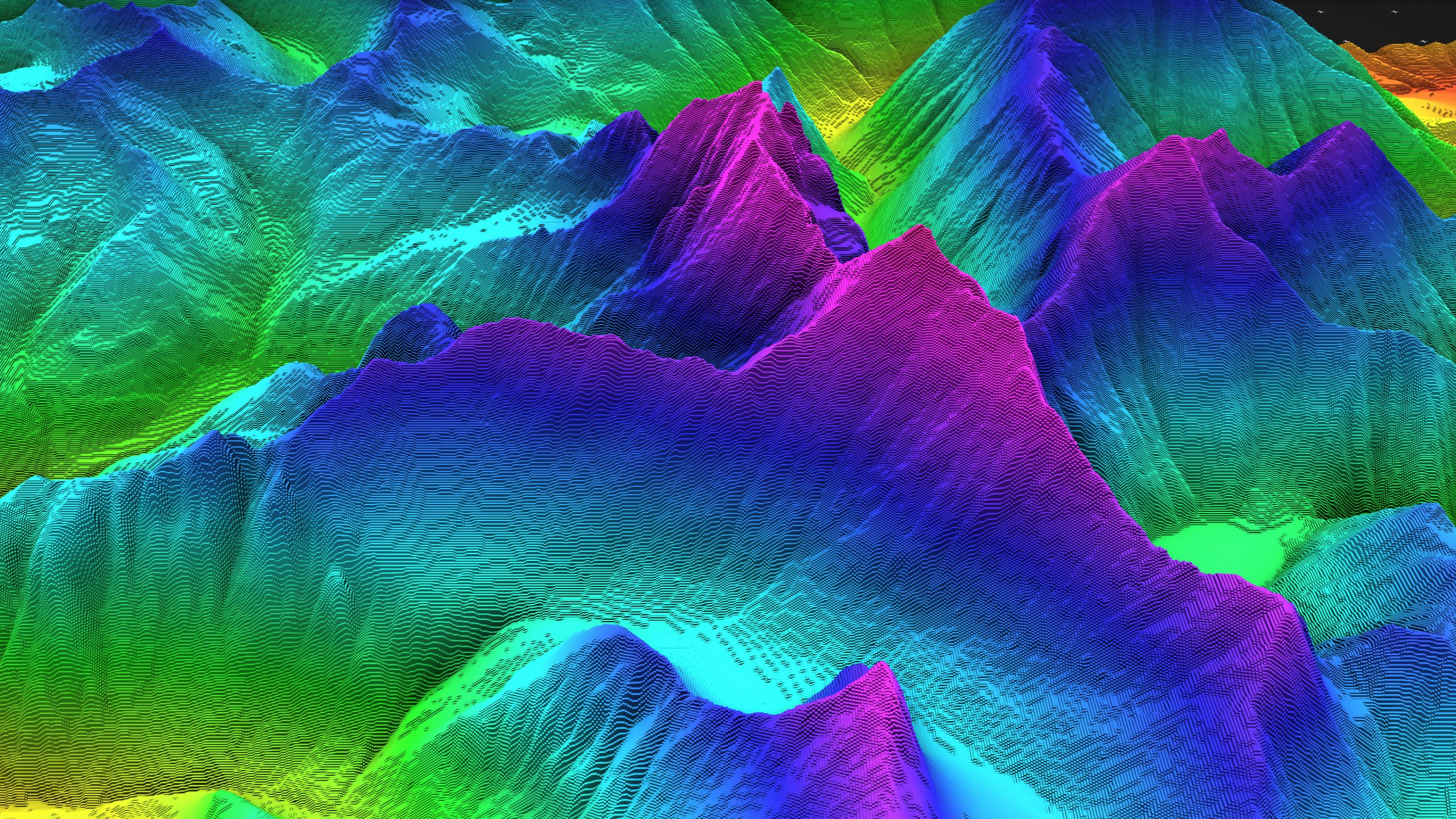 3D render of geology, soil slice, mountains isolated on dark background. cross section topology of ground relief with mountains and meadows.